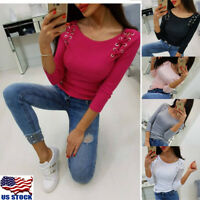 US Women Crew neck Lace Up Pullover Sweater T-Shirt Long Sleeve Slim Tops Blouse