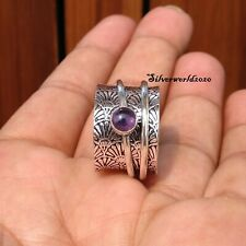 Amethyst Spinner Ring 925 Sterling Silver Plated Ring Handmade Ring Size 7 zz56