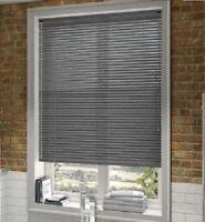 PVC SLATS VENETIAN WINDOW BLIND CURTAINS BLINDS SLATE GREY CONTRAST SILVER 25MM