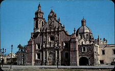 Chalco Mexiko postcard ~1960/70 Iglesia de Santiago Apóstol Partie an der Kirche