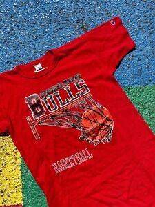 Vintage 80s Chicago Bulls NBA Basketball Champion Graphic Shirt USA Size Large