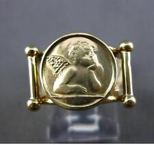 ESTATE 14KT YELLOW GOLD HANDCRAFTED ANGEL HAMMER ITALIAN DESIGN RING 12mm #21469