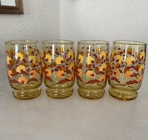 Vintage Libbey Drinking Glasses Set Of 4 Amber White Orange Flowers 6oz Mint