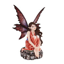 Red Fairy Sitting Waiting Wondering Figurine Statue Faery Collection Mystical