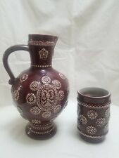 Marzi & Remy Pitcher and Cup from Germany ~ Red with Rare White Pattern
