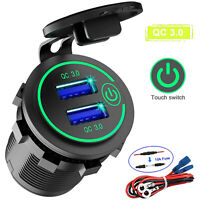 Car Charger Socket Dual 5-12V Fast Charging USB Port QC3.0 Volt Display Phone
