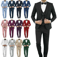 Slim Fit Herrenanzug in verschiedenen Farben mit Weste