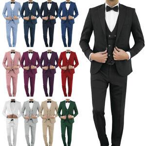 Slim Fit Herrenanzug in verschiedenen Farben mit Weste-
