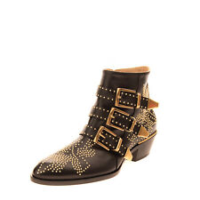 RRP €1455 CHLOE Leather Booties EU 37 UK 4 US 7 Studded Round Toe Made in Italy