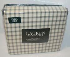 Ralph Lauren Blue & Beige Plaid 3P Full Sheet Set New Cotton
