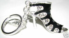 CRYSTAL KEYRING/HANDBAG CHARM ENAMEL HIGH HEEL BLACK