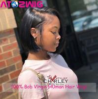 Women Brazilian Human Hair Wig Lace Front Short Straight Bob Full Wigs Black Wig