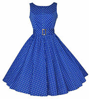 Ladies 1950's Vintage Style Blue Polka Dot Button Detail Swing Dress 8 - 18 BNWT