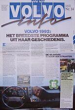 Volvo Info Nr. 14 1992 NL FL7 FL10 NL F10 F12 FS7 Nutzfahrzeug Lastwagen Lkw bil