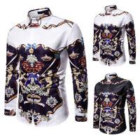 Unisex Long Sleeve Luxury Golden Flower Baroque Design Casual Dress Shirts Tops