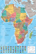 POSTER Mappa Africa-Africa Carta Politica Con Bandiere POSTER-NUOVO POSTER AFRICA