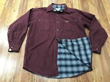 Mens Large - Carhartt S296 Canvas Flannel Lined Metal Snaps Shirt