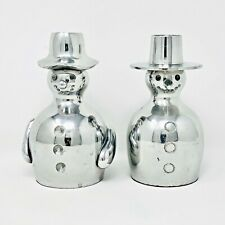 Crate And Barrel Silver Snowmen Taper Candleholders Carrot And Coal Nose Christm