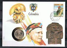 KOLUMBIEN , COLOMBIA 10 PESOS 1985  Numisbriefe , Münzbriefe