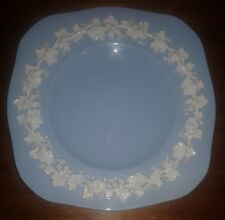 """Wedgwood Embossed Queen's Ware Square Plate Blue 8 3/4"""" Wide"""