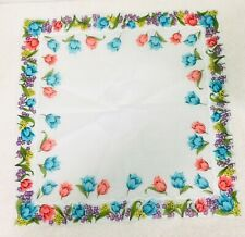 Vintage Hankie Never Used Bright Blue Pink Tulips w Purple Yellow Flowers 13 1/4
