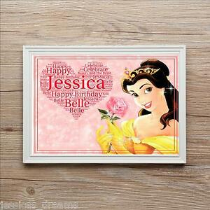 Disney Beauty and the Beast Belle Birthday Personalised Name Photo Print