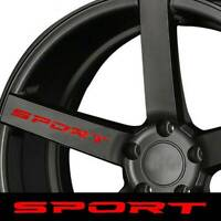 4Pcs Red SPORT Style Car Auto Door Alloy Wheel Rims Racing Sticker Graphic Decal