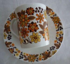 VINTAGE CARNABY ELIZABETHAN FINE BONE CHINA TEA CUP COFFEE MUG SAUCER ORANGE
