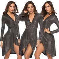 Women Sequins Irregular Short Mini Dress Long Sleeve V Neck Bodycon Nightclub