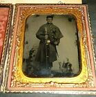 I.D.ed 1/6 th.P. Armed Civil War Union Soldier Tintype Picture Full Case. for sale