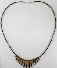 Navajo Indian Dark & lite 22 inch translucent tortoise spike or fan necklace