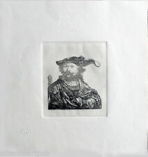 """REMBRANDT IN VELVET CAP & PLUME"" Etching After Rembrandt (B 20) by Amand-Durand"