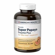 American Health Super Papaya Enzyme Plus Chewable Tablets, Natural Papaya Flavor