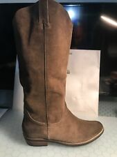 KELSI DAGGER Frisco Cow Suede Distressed Western Inspired Brown Boot Sz 10