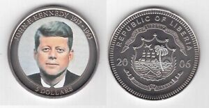 LIBERIA - COLORED 5$ UNC COIN 2006 YEAR KENNEDY
