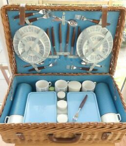 Vintage Asprey's of London Quality Wicker Picnic Basket with Brexton Fittings