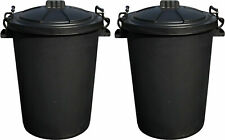 More details for 2 x 50 litre heavy duty plastic rubbish refuse bin waste dustbin locking lid 50l