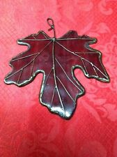 "Vintage 5"" Genuine Stained Glass Oak Leaf Sun Catcher Ornament Burgundy Red"