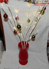 Holiday LED Light Branches in ceramic Red Vase Battery Timer by Mark Feldstei 8F