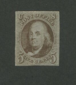 1847 United States Postage Stamp #1 Mint Hinged Regummed F/VF