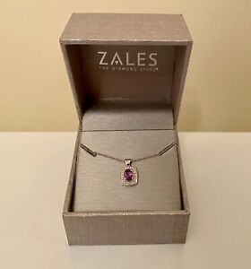 NEW IN BOX ZALES AMETHYST PURPLE & DIAMOND ACCENT NECKLACE STERLING SILVER