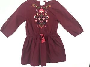 Size 1 BEEBAY Plum Long Sleeve Cotton Dress  European Style Embroidery RRP$50