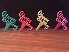 Happy Birthday Script Cupcake/Cake Picks Green/Orange/Yellow/Pink (Set Of 12)