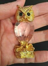 Crystal Owl animals figurines crystal gold detail stamped  ornament figurine
