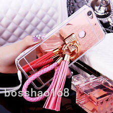 Luxury Bling Diamond Crystal Pink Ring Holder Mirror Phone Case Cover with strap