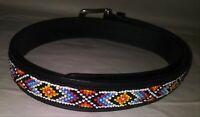 Vintage Black Southwestern Style Beaded Leather Belt- measures 33 3/4 inches