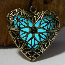 Herz Herzkette Käfig leuchtet im Dunkeln Kette Anhänger Goldfarben NEU 1148