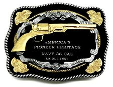 Gun Belt Buckle Navy 36 Cal Revolver American Western Theme Authentic White Wolf