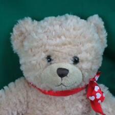 WAVY FUZZY FUR BLONDE BUILD A BEAR TOY TEDDY RED BOW PLUSH STUFFED ANIMAL