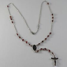 925 SILVER NECKLACE, RED RUBY, VIRGIN MARY MEDAL, CROSS BY ZANCAN MADE IN ITALY
